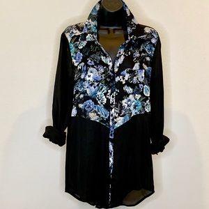 Black & Floral Chiffon Tunic